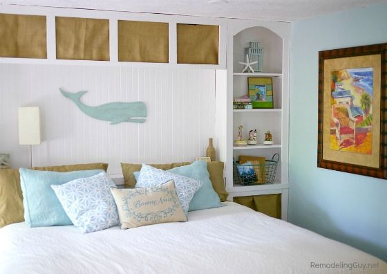Coastal bedroom makeover olympic paint woodwork snowy for What finish paint for bedroom