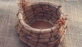 Tejer un cesto de pinocha: creativo y relajante
