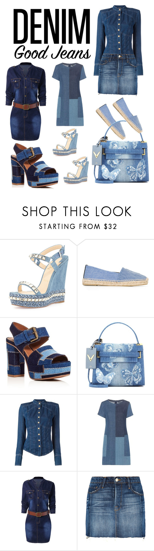 """""""👖Denim head to toe👖"""" by jojoberryperry ❤ liked on Polyvore featuring Christian Louboutin, Yves Saint Laurent, See by Chloé, Valentino, Balmain, J Brand, Frame and alldenim"""