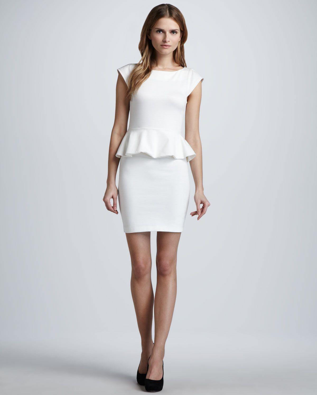 Alice + Olivia Victoria Ponte Peplum Dress, Cream - Neiman Marcus ...