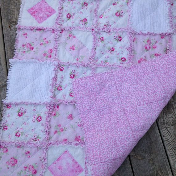 Baby Girl Rag Quilt Crib Quilt Toddler by SewSnugglyDesigns