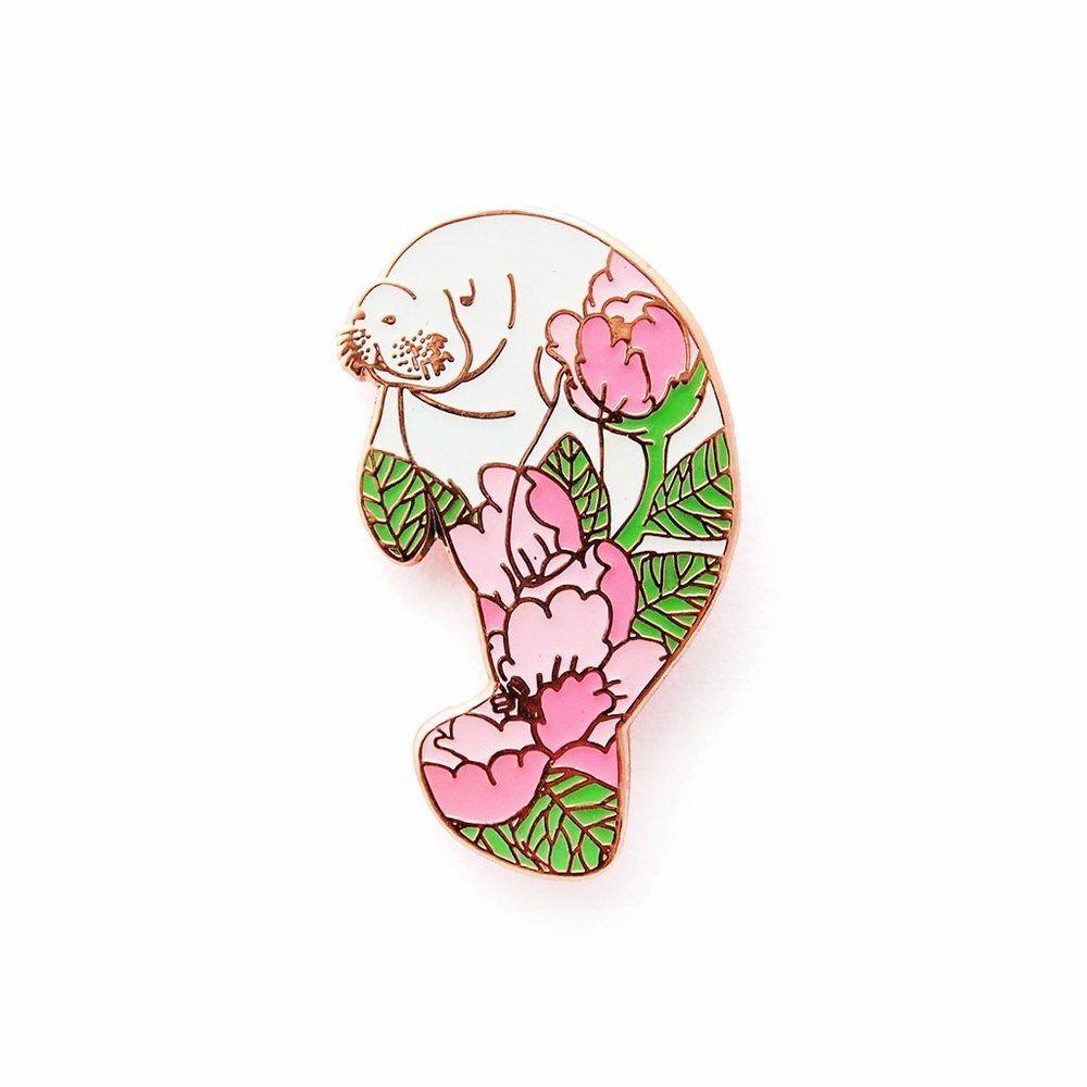 Peony manatee enamel pin by Natelle Draws Stuff