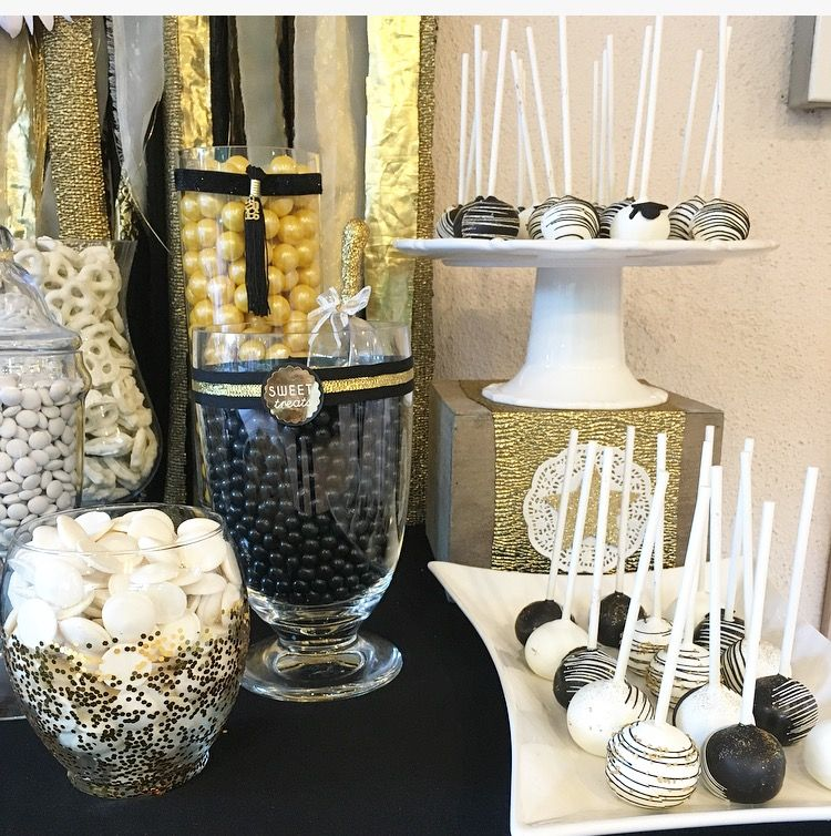graduation candy table black gold and white graduation party