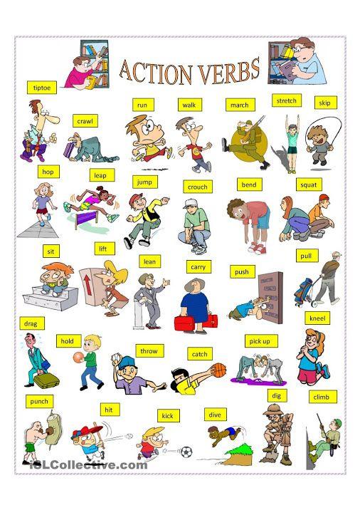 Action verbs ESL English verbs, Education english, Action verbs