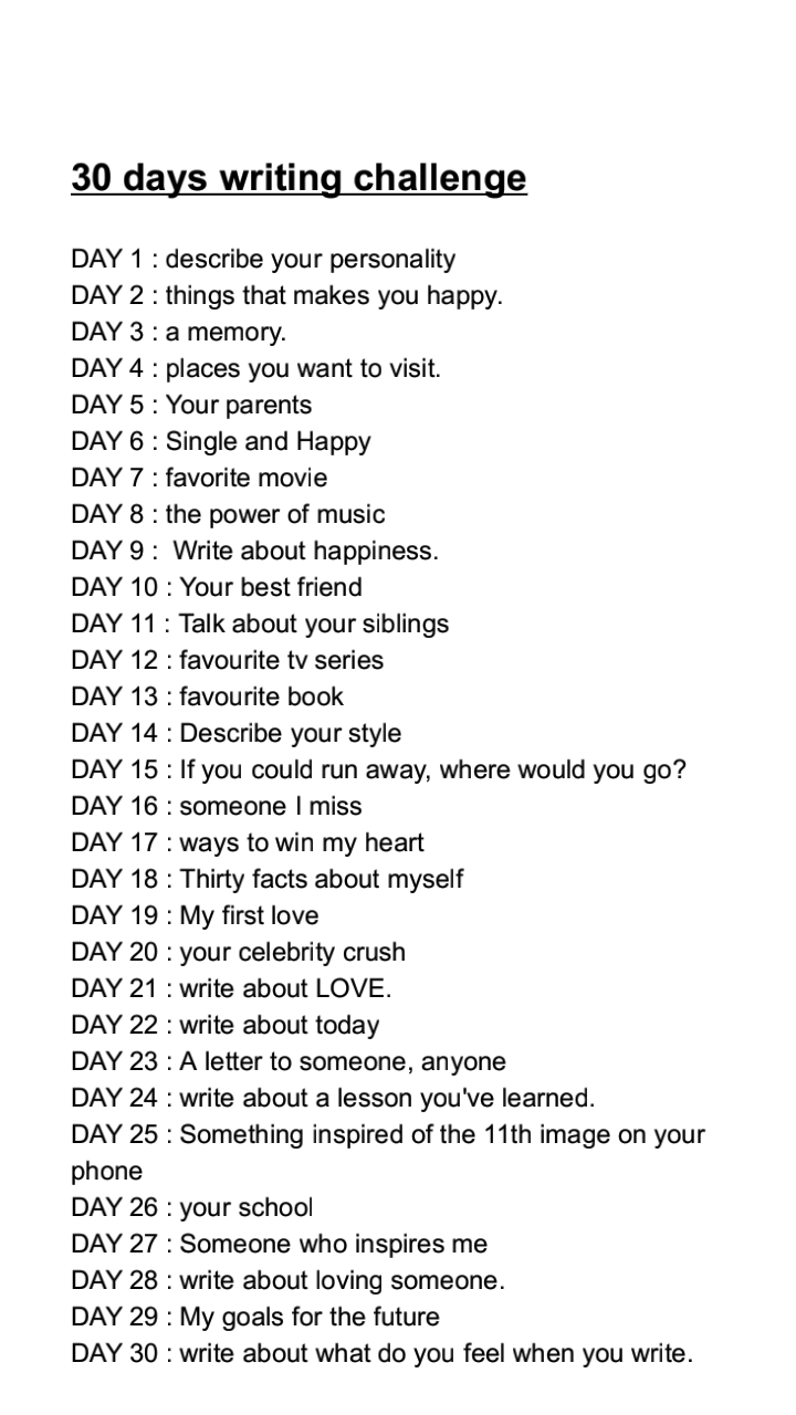 30 days writing challenge✏💭🌼 uploaded by Rihanna