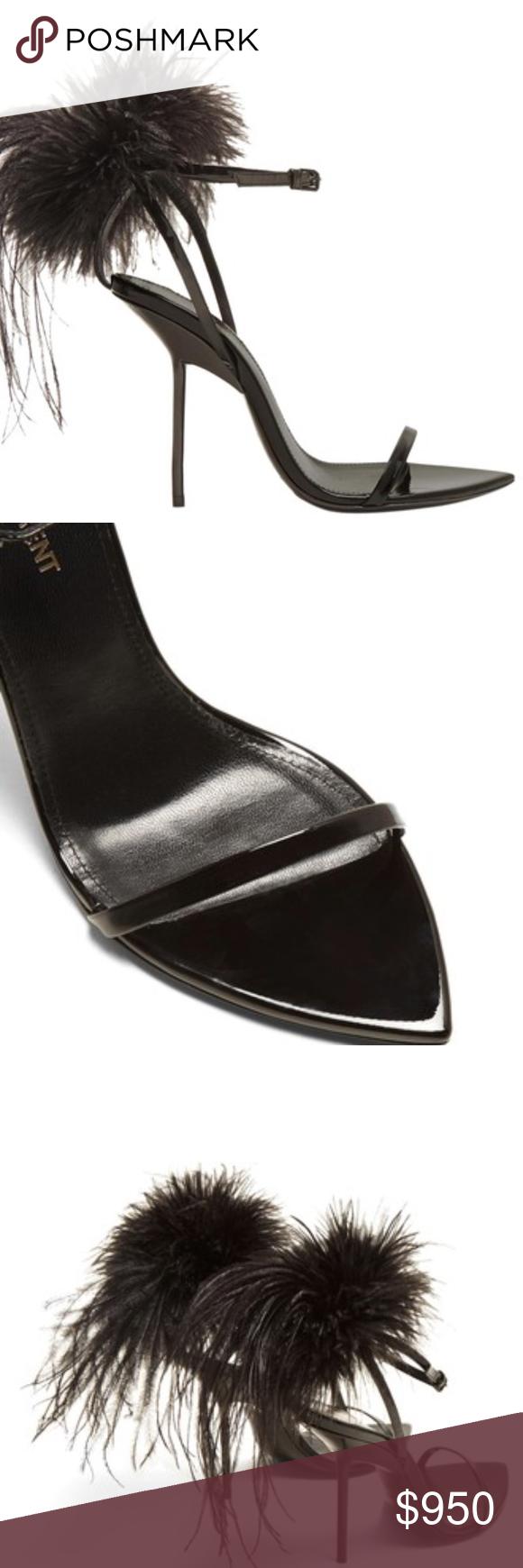 ed9f68311a66 SAINT LAURENT Mansour feather-embellished sandals SAINT LAURENT Mansour  feather-embellished sandals These black