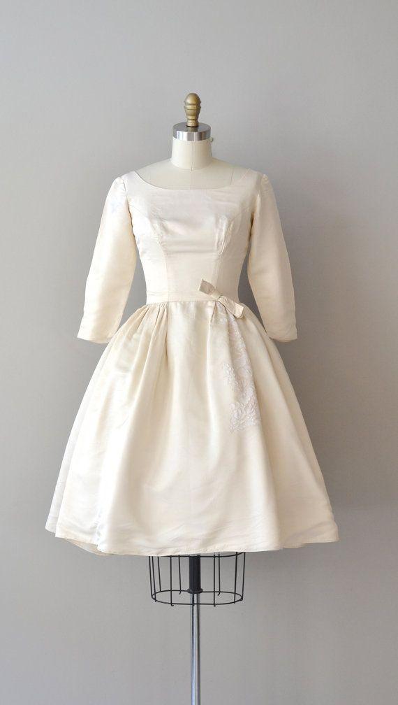 1950s wedding dress / silk 50s wedding dress  / Bond of Love
