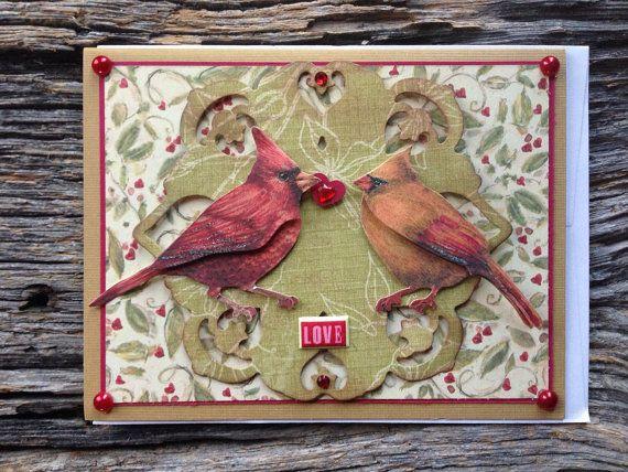 Valentines day card love birds card cardinal card I by EquusFancy