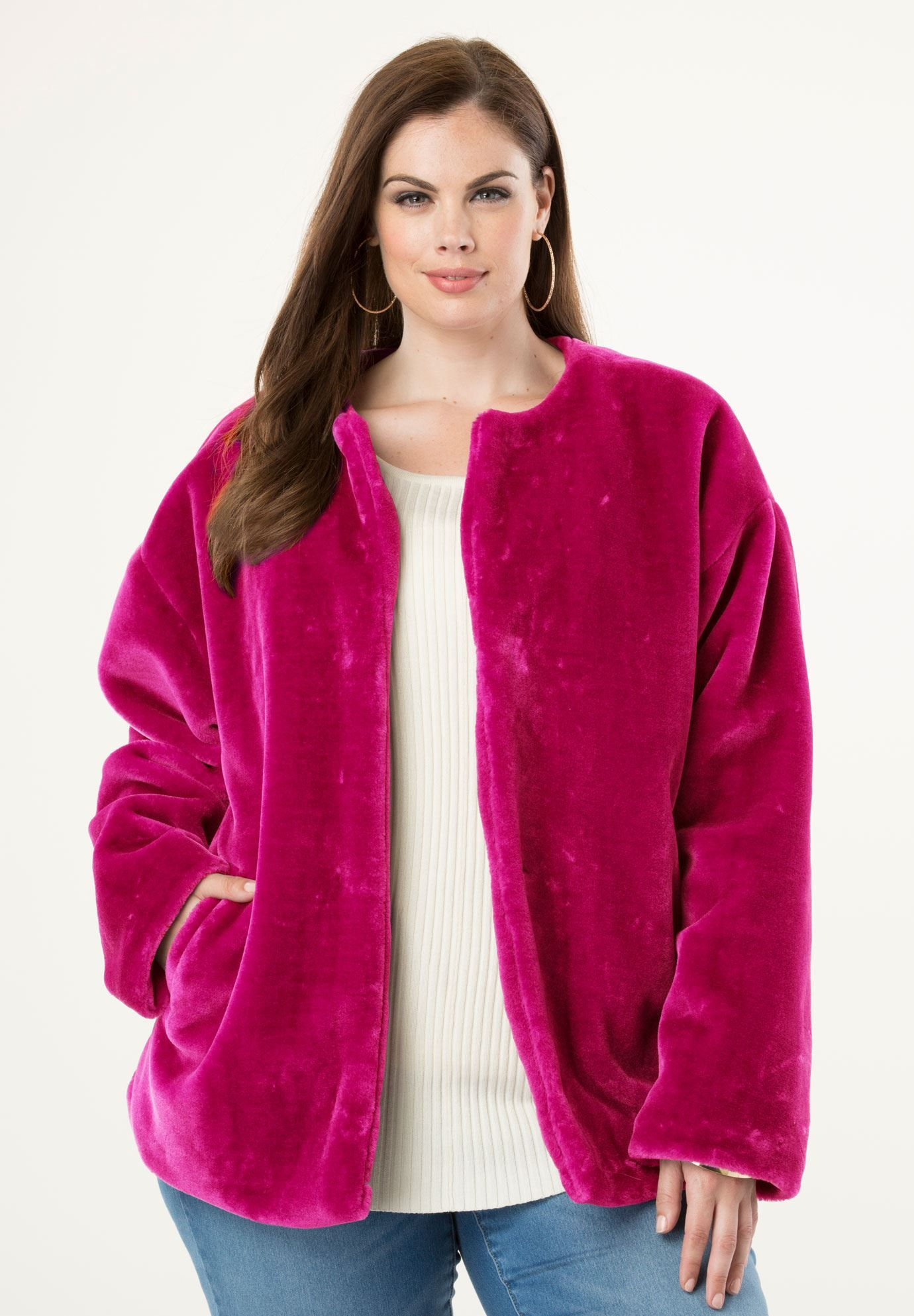 FauxFur Jacket, CRYSTAL BERRY (With images) Fringe