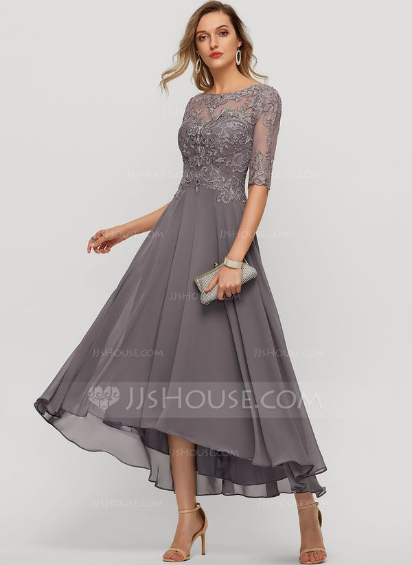 A-Line Scoop Neck Asymmetrical Chiffon Evening Dress With Beading Sequins (01720... 1