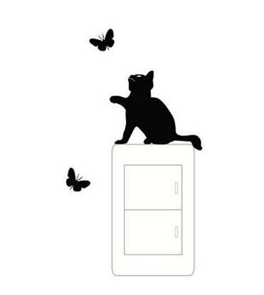 Cat DIY Switch Panel Stickers Lovely Bedroom Plane Wall Stickers - Vinyl decal cat pinterest
