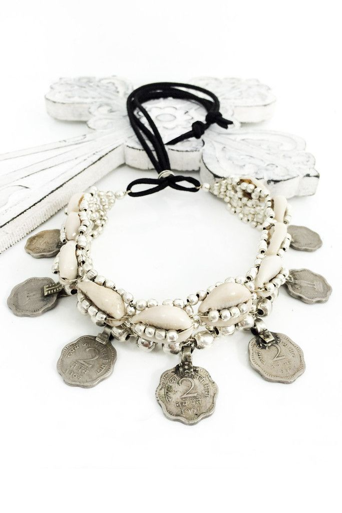 The Original Cowrie Shell and Coin Choker