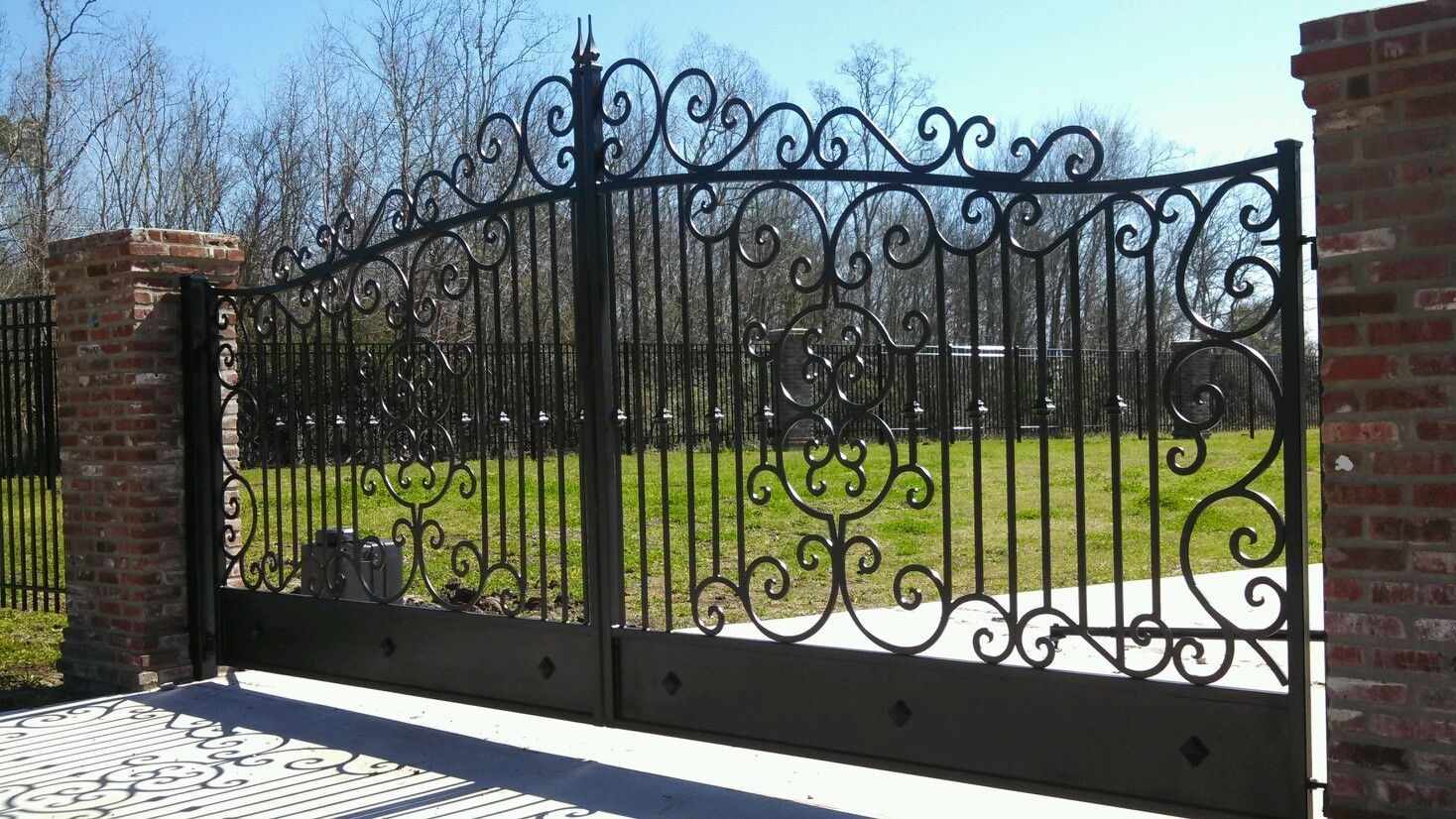 Wrought Iron Custom Estate Driveway Gates With Bonus Walk Gate