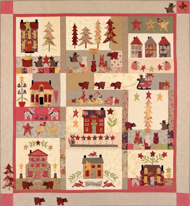 Woodland Christmas Quilt Designed By Bunny Hill The Finished Quilt Measures 67 X 72 The Progra Christmas Quilt Patterns Woodland Christmas Christmas Blocks