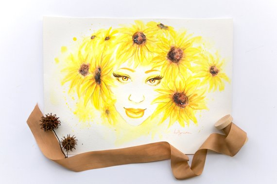 Watercolor Painting Determination Flower Art Sunflowers