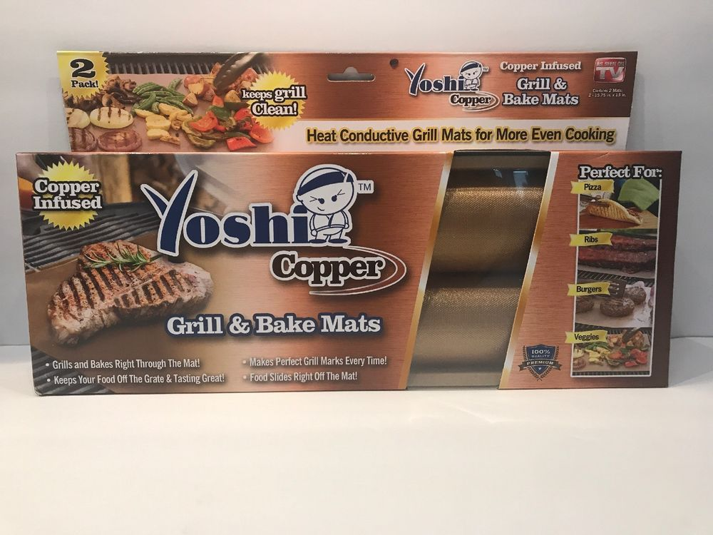 Yoshi Copper Grill And Bake Mat Bbq Grilling Reusable Non Stick 2 Mats 729253589734 Ebay Baking Mat Perfect Pizza Bbq Grill