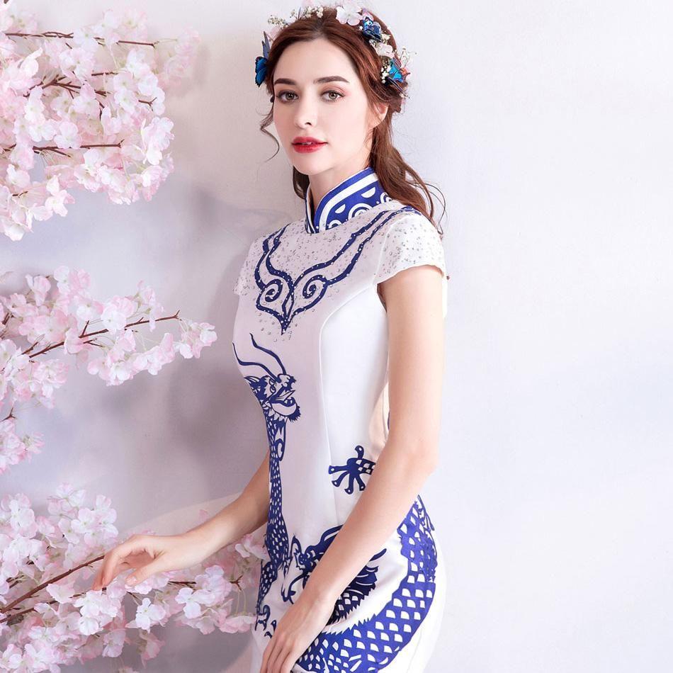 Dragons Pattern Mandarin Collar Mermaid Cheongsam Chinese Style Wedding Dress Chinese Style Wedding Dress Chinese Wedding Dress Short Sleeve Dresses [ 950 x 950 Pixel ]
