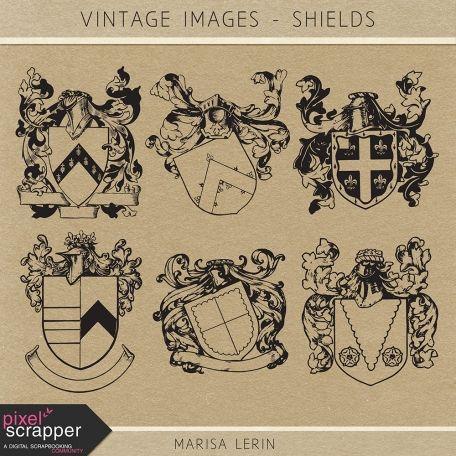 Vintage Images Kit - Shields | digital scrapbooking | photoshop brushes, vintage, heritage, ephemera