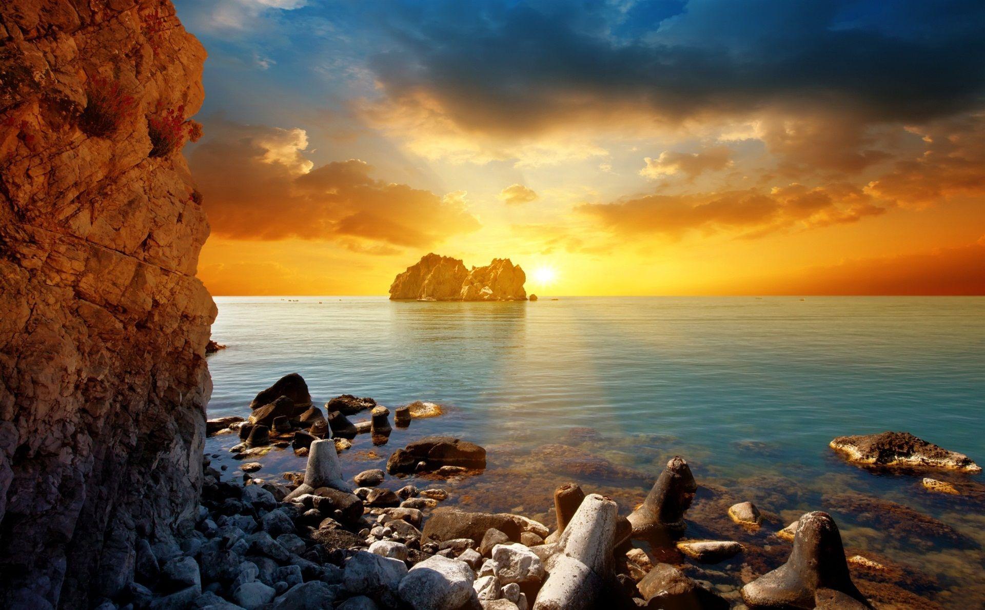 The Evening Sea Rocks The Sun Sunset Clouds Beach Sunset Wallpaper Sunset Wallpaper Sunrise Wallpaper
