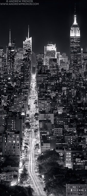 Panoramic view of manhattan at night spectacular photo by andrew prokos