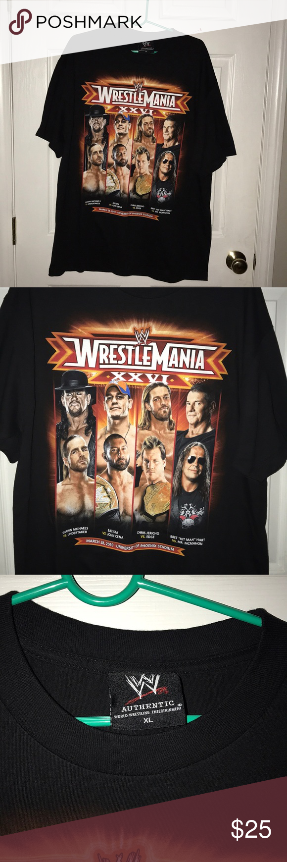 WWE Wrestlemania 2010 black t shirt size XL AZ Black tshirt