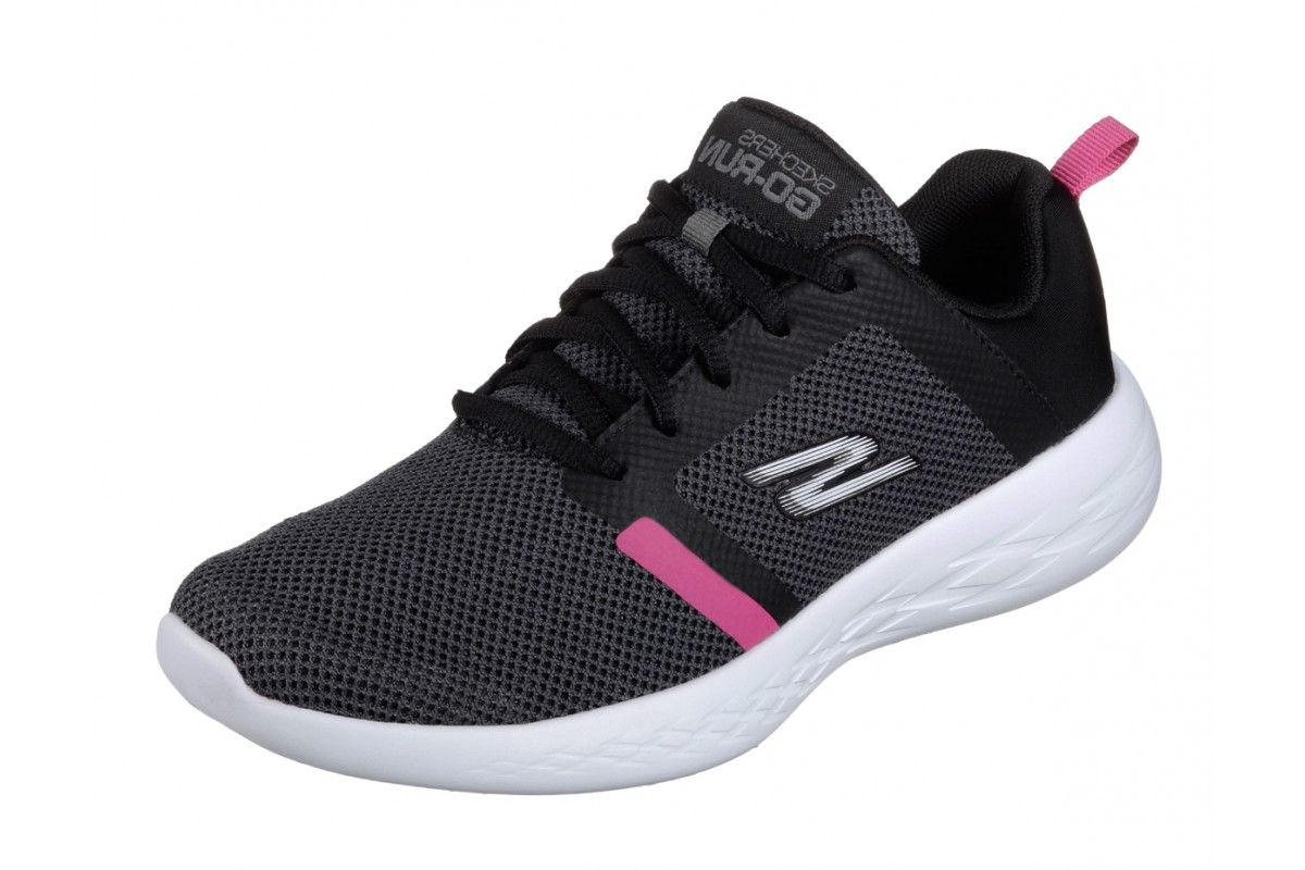 1e047bbe1abb Skechers Go Run 600 Revel Black Hot Pink Athletic Trainers