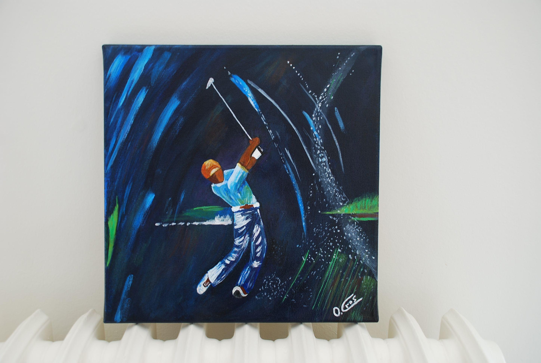 Peinture acrylique sur toile le joueur de golf diy une histoire de famille pinterest for Peinture acrylique sur toile