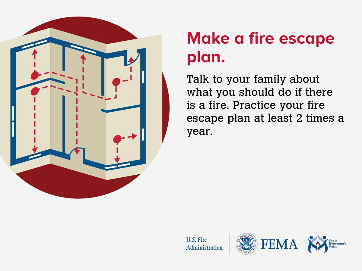 info graphic saying to make a home fire escape plan