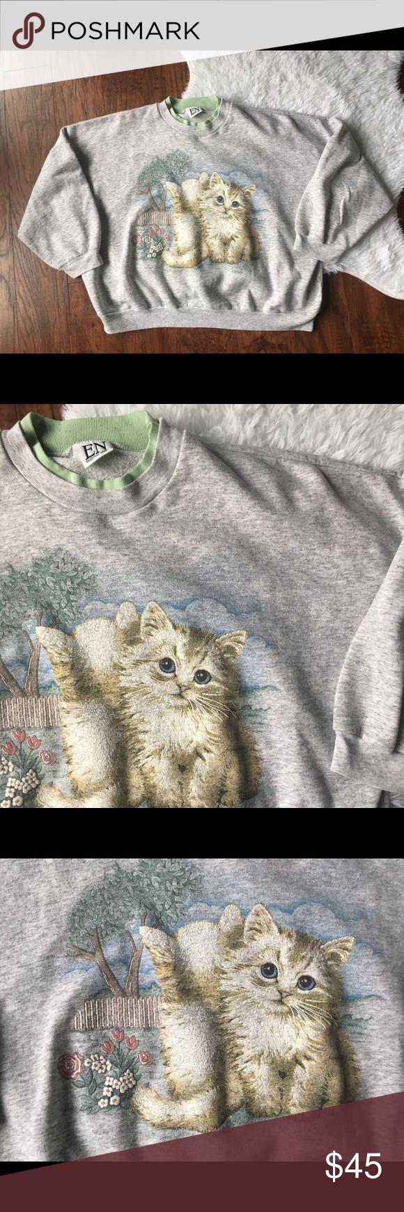 Vintage Crazy Cat Lady Kitten Sweatshirt Sweatshirts Crazy Cat Lady Clothes Design