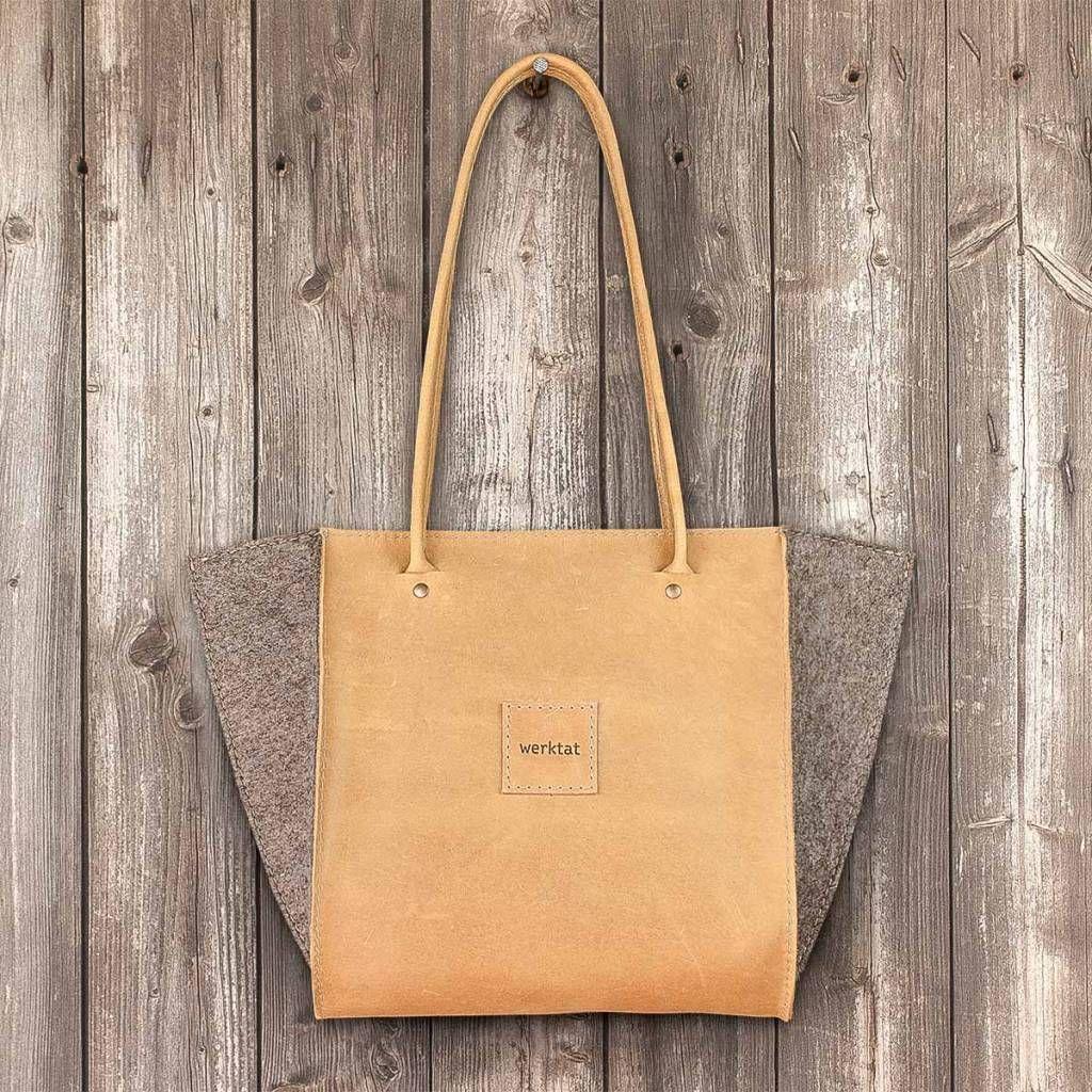 """werktat Schultertasche, Handtasche, Leder """"sand"""" Ledertasche, Filztasche, """"Resultat"""" aus Filz und Leder #ledertasche #filztasche #schultertasche #handtasche #shoulder #bag #leather #felt #Filz #Leder #Tasche #Handbag"""