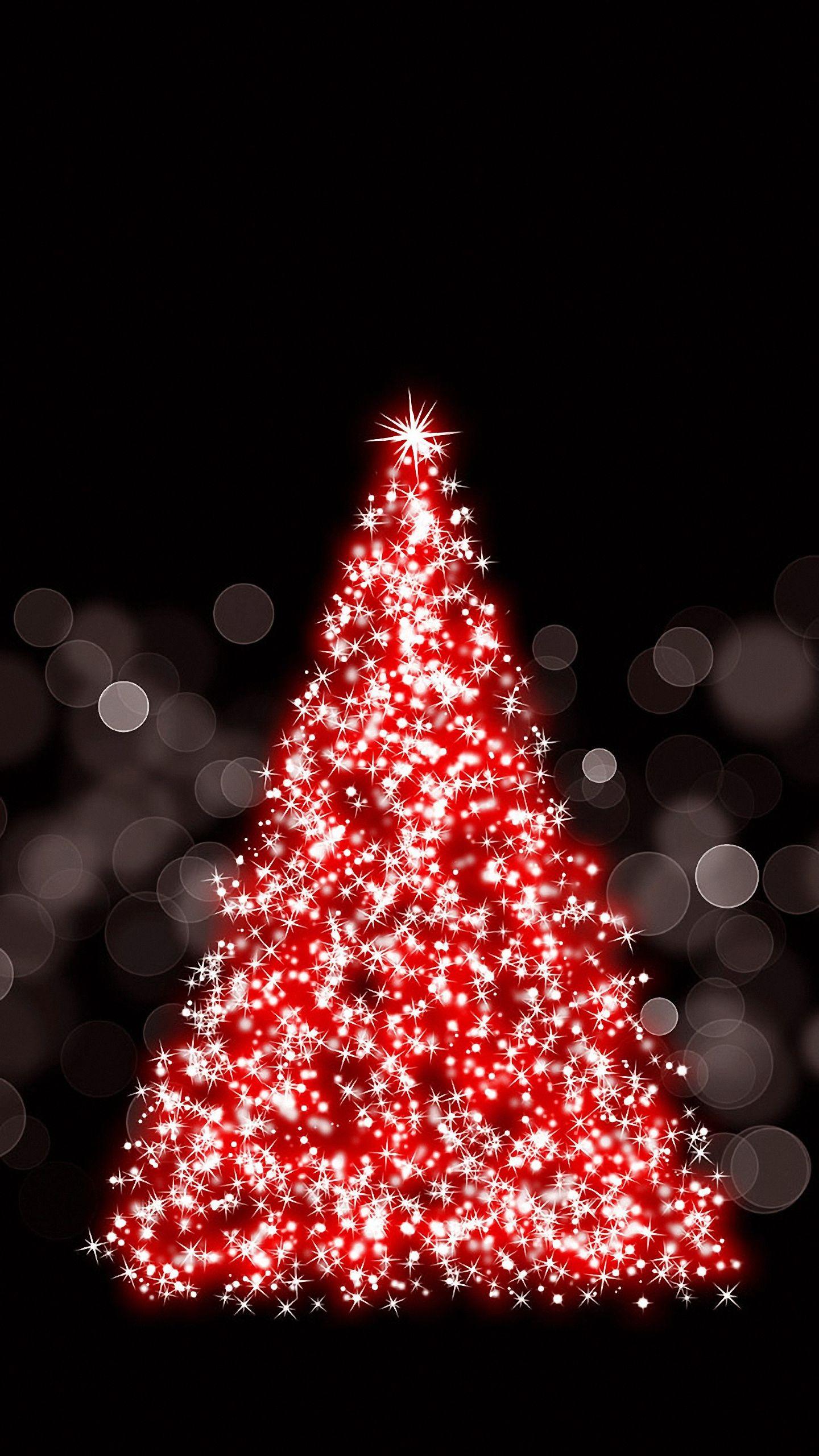 HD 1440x2560 sparkling christmas tree wallpaper
