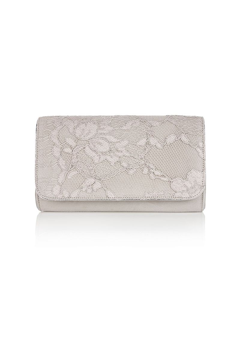 ebfe9a81d628 Exclusive collaboration with Emmy London. A classic Emmy London kid suede clutch  bag in a soft vapour grey shade with an overlay of grey French Lace on the  ...