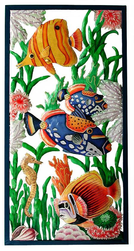 TROPICAL FISH Wall Hanging -Metal Wall Art, Garden Art, Painted Metal Art, Tropical Home Decor, Garden Decor – Large 17″ x 35″ – K-7301