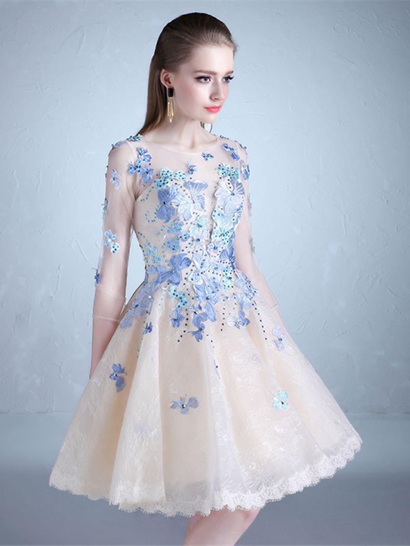 Scoop aline half sleeves beading lace kneelength prom dress in