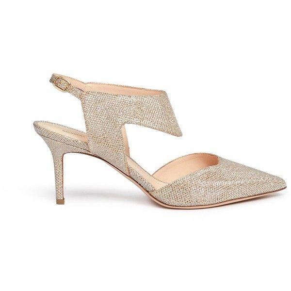 Nicholas Kirkwood 'Leda' glitter lamé cutout pumps (€715) ❤ liked on Polyvore featuring shoes, pumps, metallic, nicholas kirkwood, polish shoes, metallic pumps, metallic shoes and cutout shoes