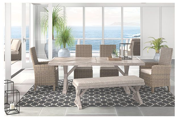 Beachcroft Dining Table with Umbrella Option | Buy outdoor ... on Beachcroft Beige Outdoor Living Room Set  id=99006