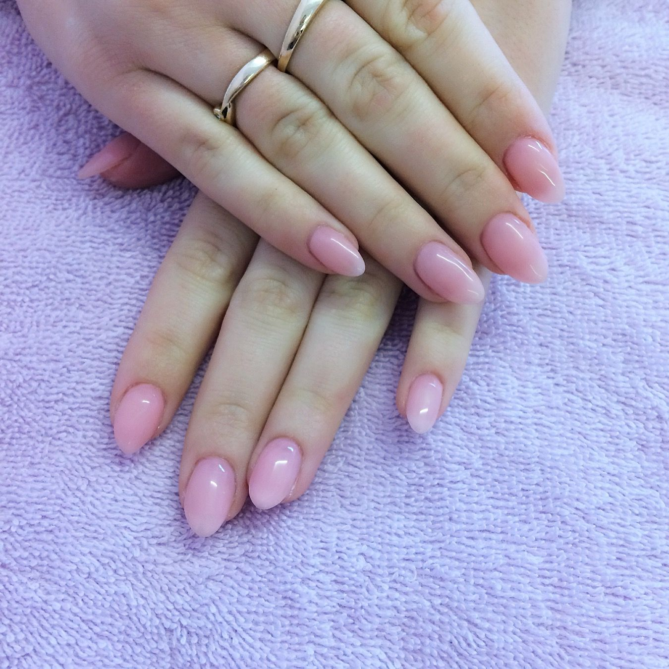 Pretty natural looking gel extensions in a sheer pink | Our Nails ...
