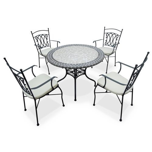 romantique salon de jardin table ronde 100cm 4 places granit mosaique zellige style ceramique fer