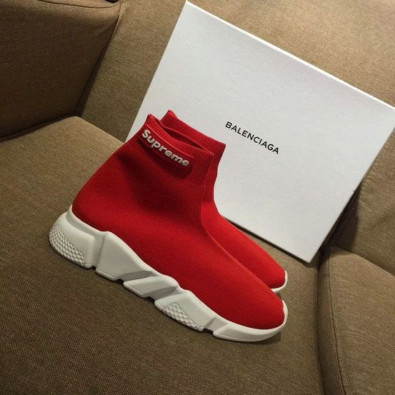 69c0efbc365be Balenciaga Speed Knit Trainers Stretch Supreme Face Red Contrasting  Textured White Sole Latest and Newest Sneaker
