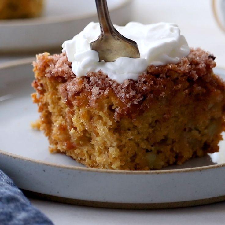 Cette tarte aux pommes au sucre a la cannelle est legere et moelleuse, avec ...   - Süsse Verf�