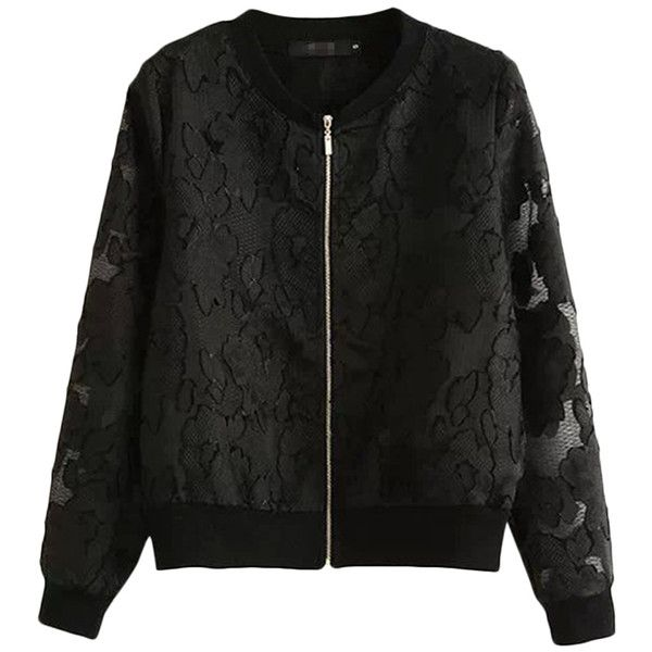 Black Chic Ladies Crew Neck Long Sleeve Lace Zipper Jacket (120 BRL) ❤ liked on Polyvore featuring outerwear, jackets, pinkqueen, black, black long sleeve jacket, black jacket, long sleeve jacket, long sleeve lace jacket and zip jacket