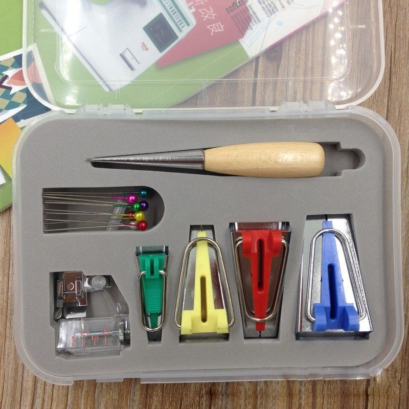Bias Tape Maker Set Fabric Bias Tape Maker Tools 4 Sizes DIY Sewing Bias Tape Makers with Craft Clips Awl for Quilt Binding