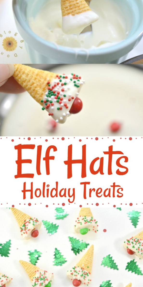 Elf Hats Holiday Treats - Easy, fun, holday treat for Christmas. Great for school parties #elfhats #holidaytreats #food #foodie #christmas #treats #christmastreats