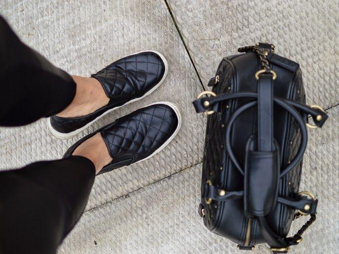 Scuba leggings, slip on sneakers, leather camera bag