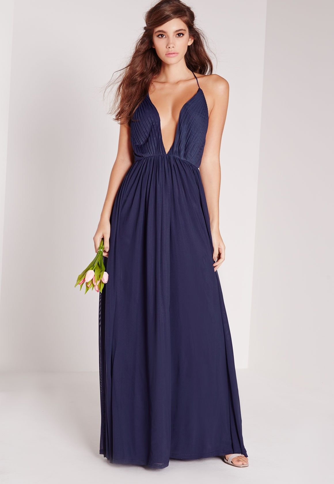 Strappy Pleated Plunge Maxi Dress Navy - Missguided | Bridesmaid ...