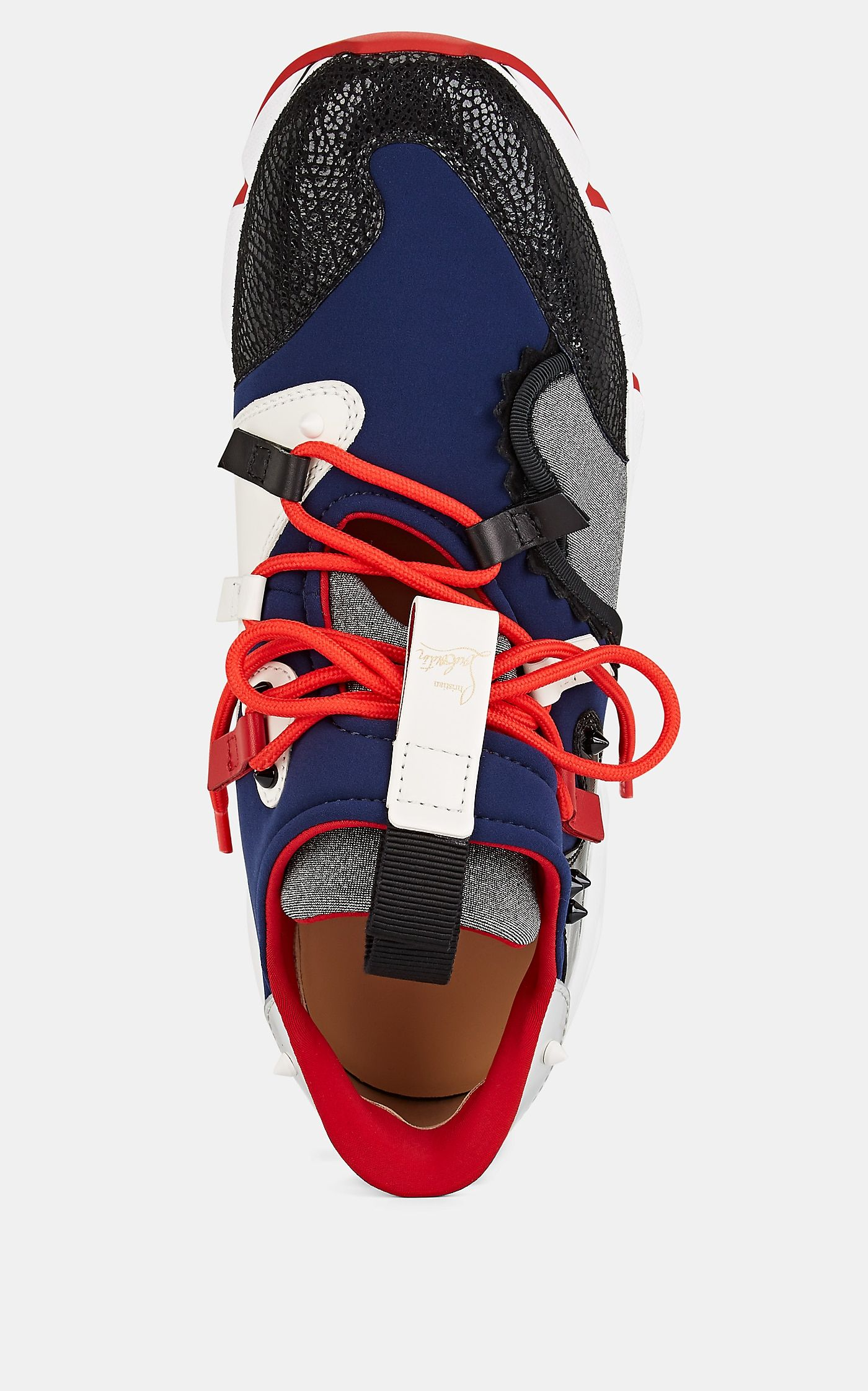 Christian Sneakers Runner Mixed Louboutin Red Navy Men's Material qMGSVUpz