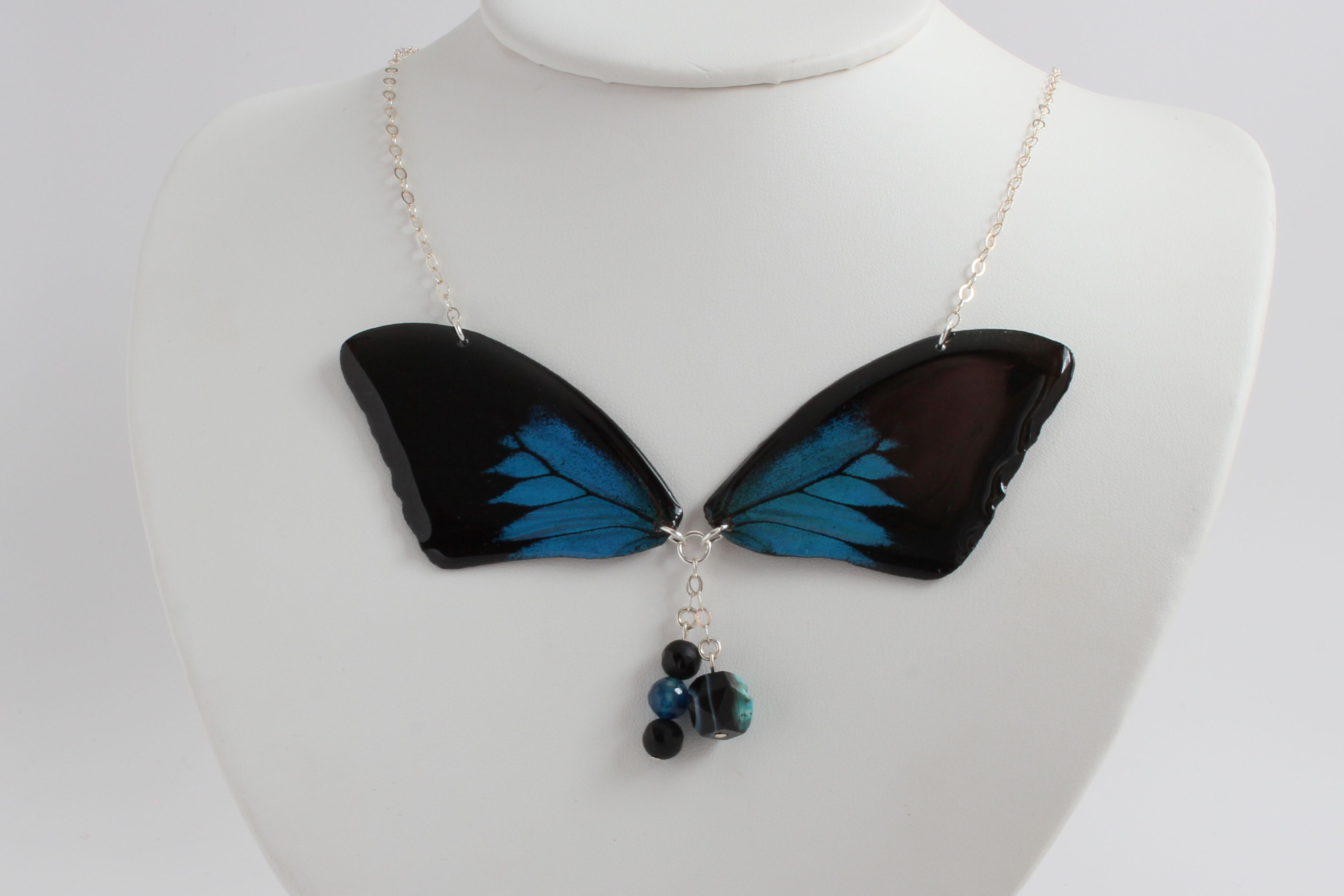 Blue Bottle Butterfly Necklace This butterfly is native to Indonesia