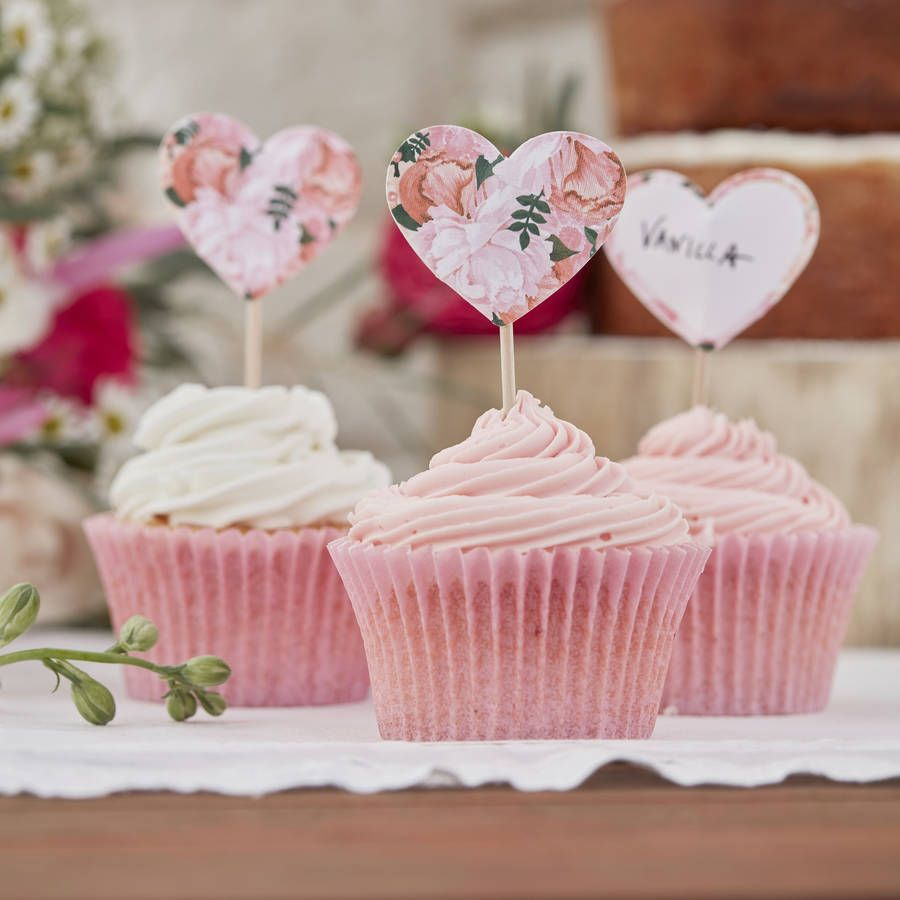 Floral Heart Shaped Cupcake Topper Decorations In 2018 64185