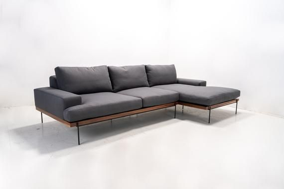 Custom Built Feather Filled Modern Sofa Chaise On Solid Walnut Wood Platform All Built In House From The Ground Up To Your D Scandinavian Sofas Sofa