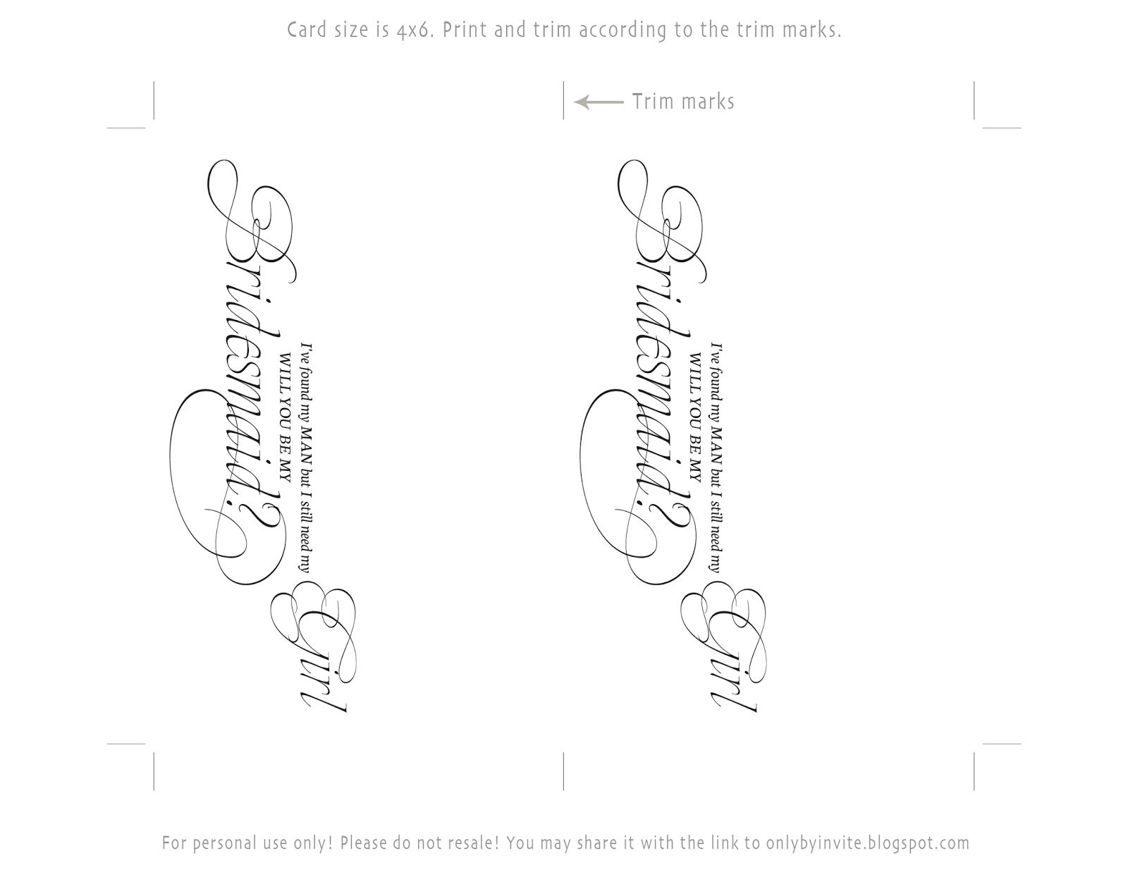 free printables for happy occasions free printable bridesmaid card